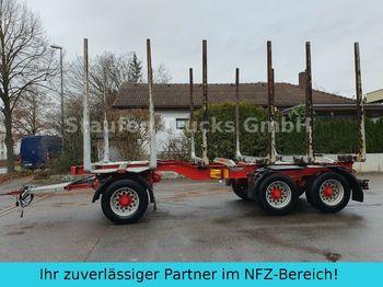 Houttransport Huttner N6SE-27 Kurzholz 3-Achs Anhänger  Blattfederung
