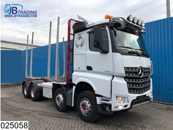 Verpachting Mercedes-Benz Arocs 3563 8x4, EURO 6, Steel suspension, 13 Tons axles, Airco, Hydrauliek, Hub reduction, Wood / Tree transport - houttransport