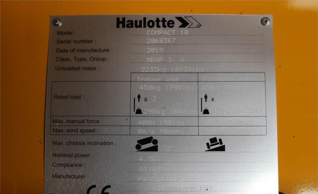 schaarlift Haulotte COMPACT 10 Electric, 10.15 m Working Height, Non M